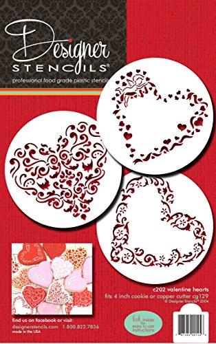 Designer Schablonen C202Swirl Valentine Herz Cookie Schablonen, beige/halbtransparent