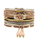 Daawqee Brazalete,Mujeres Hombres Pulseras,New Stlye Leather Bracelets Charm Bracelets Bohemian Bracelets&Bangles For Women Gift Wholesale Jewelry Gold 18cm