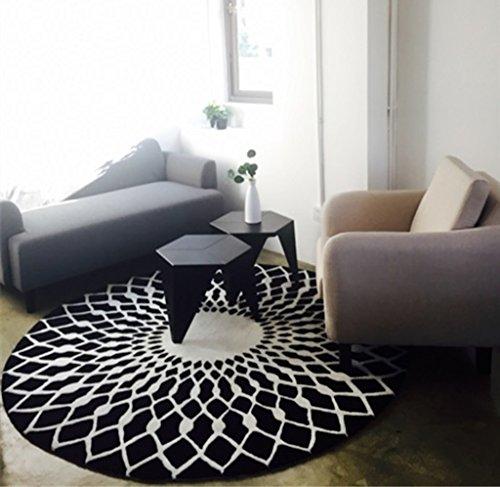 Tapis Noir et Blanc Rond Salon Table Basse Grande Chambre Étude Étoile Mats (Couleur : Noir+Blanc, Taille : 160cm)
