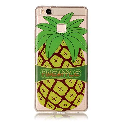 Huawei P9 Lite Hülle, E-Lush TPU Soft Silikon Tasche Transparent Schale Clear Klar Hanytasche für Huawei P9 Lite Durchsichtig Rückschale Ultra Slim Thin Dünne Schutzhülle Weiche Flexibel Handyhülle Kr Big Pineapple