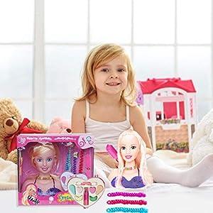 Princess Styling Head Doll Set, juego de rol, a partir de 3 años, Super Model Styling Head, cabeza de maquillaje, cabeza de peluquería, cabeza de maquillaje con accesorios, regalo para niñas