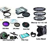 FC50–camshot Juego de filtros UV/CPL/ND8/FLD/Close Up + 4+ 8+ 10+ parasol de objetivo + Tapa de objetivo + funda de filtro + lápiz limpiador de Lenspen lente para Sony DSC-H400DSC-HX400V DSC-HX300dsc-hx350Cámara Digital