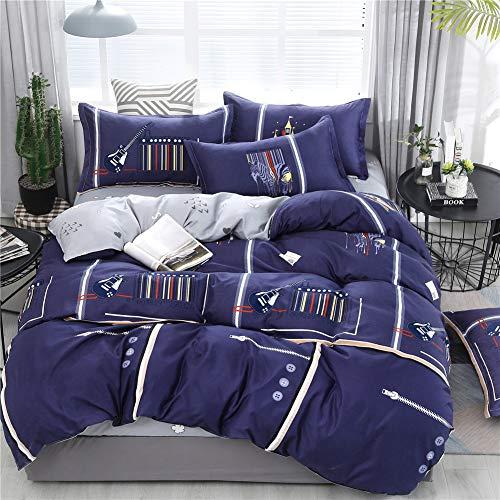 Treer Bettwäsche Set Hypoallergen, 4tlg Mikrofaser Polyester Bequem Atmungsaktive Weich Gemütlich und Haltbar 1 Reißverschluss Bettbezug 2 Kissenbezuge 1 Bettlaken (150 * 200cm,Blaue Tastatur) -