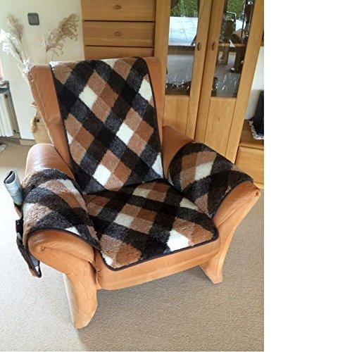 Sesselschoner Sesselauflage Sesselüberwurf Seitentaschen kariert