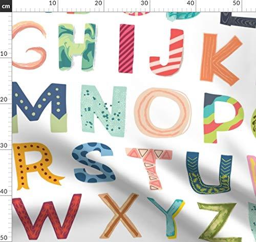 Alphabet, Briefe, Baby, Kinderzimmer, Spaß, Kinder Stoffe - Individuell Bedruckt von Spoonflower - Design von Enariyoshi Gedruckt auf Leichter Baumwoll Twill -