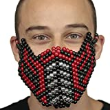 Kandi Gear Red Sub Zero Mortal Kombat V2 Full Kandi Mask by, rave mask, halloween mask, beaded mask, bead mask for music fesivals and parties