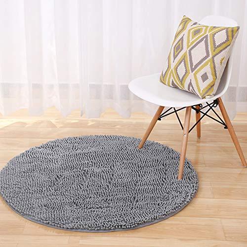 Morbuy Schlafzimmer Bodenmatte, Chenille Runde Bodenmatte Anti-Rutsch-Bequeme Super saugfähiger weicher Wohnzimmer Fitness-Yoga-Matte (60cm, Grau)