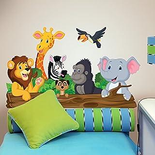 wall art R00145Sticker Mural Enfant Animaux de la Jungle, Papier Peint Multicolore, 100x 30cm