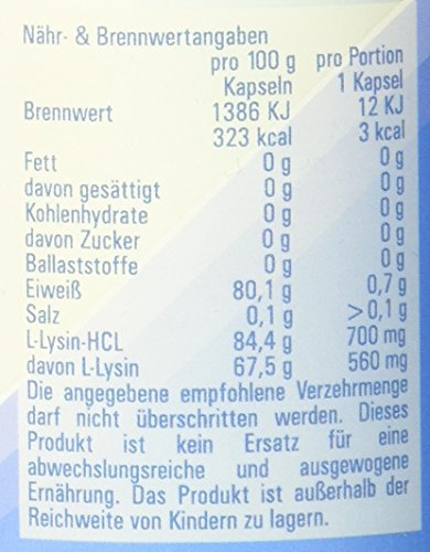Vitasyg L-Lysin Hochdosiert, 120 Kapseln, 1er Pack (1 x 99 g)