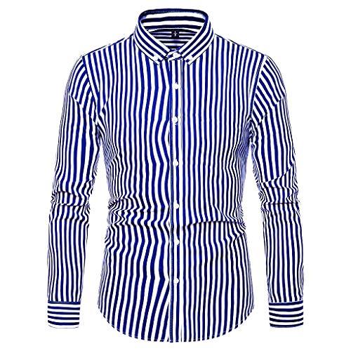 YU'TING ‿ Camicie da Cerimonia da Uuomo, Manica Lunga Camicia a Righe per Uomo Autunno Primavera Camicie Casual con Turn-Down...