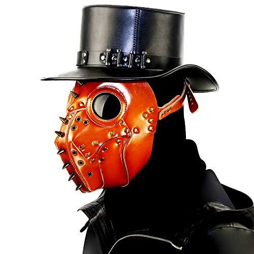 LOERO Steampunk Pest Gothic Kürbis Maske Rivet Nase Schnabel Cosplay Punk Halloween Kostüm Requisiten Phantom der Oper Vintage Orange Mechanische Venezianische Maske