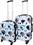 normani 2 teiliges ABS Hartschalen Koffer Set mit Teleskopgriff und Zahlenschloss Farbe Sky Balloon