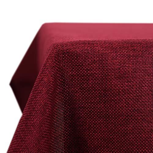 Deconovo Tischdecke Wasserdicht Tischdecke Lotuseffekt Tischtuch Leinenoptik 130x280 cm Rot