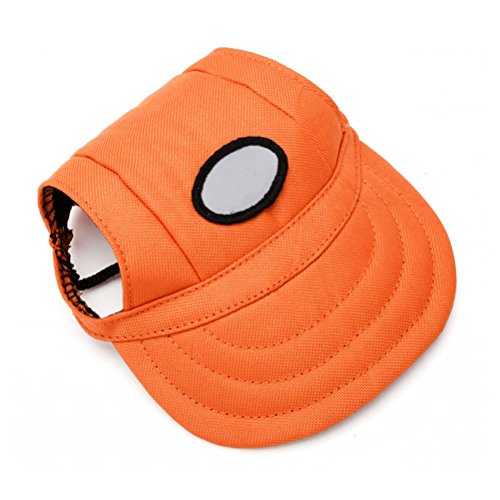 (winomo Pet Dog Sports Hat Pet Dog Oxford Stoff hat Sports Baseball Cap mit Ohrenaussparung für kleine Hunde–Größe S (orange))
