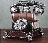 URGrace 16 cm Retro-Telefon Kunstharz Figur Spardose Vintage Spardose Coin Bank Saving Pot Rotary-Telefon Geburtstag Geschenk Coffee shop Statue Dekoration, grün