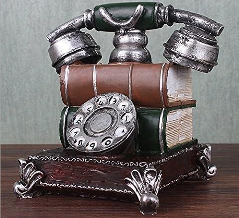 URGrace 16 cm téléphone Résine Rétro figurine Tirelire vintage Tirelire