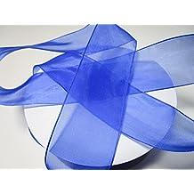 50m x 40mm Organzaband 4 cm,Schleifenband,Geschenkband Hochzeit: Blau