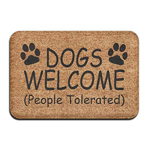 JIEKEIO Dogs Cats Welcome (People Tolerated) Vintage 15.7 X 23.6 In Absorbent Non Slip Floor Rug Coral Carpet -