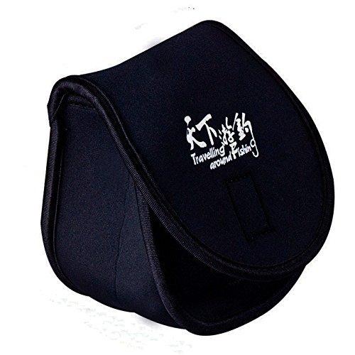 Schwarz Polyester Spinning Fishing Reel Tasche Reel Case Schutzhülle Aufbewahrungstasche tragbar Tasche 2Pcs