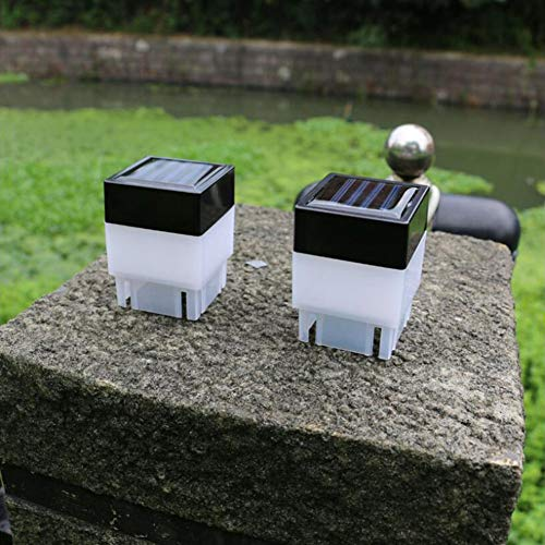 2Pcs Outdoor Solar Fence Lights Fence Piling Lights Garden LED Post Lights Solar Garden Lights for Garden Outside Wall Porch Pathway,warmyellowlight