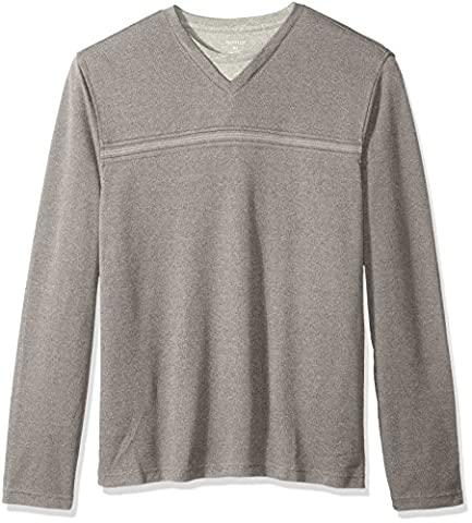 Van Heusen Men's Big and Tall Long Sleeve Jaspe Stripe Doubler V-Neck Shirt, Grey Cumulus, 2X-Large