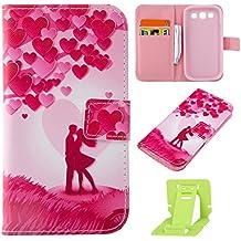 Samsung Galaxy S3 Funda,Ekakashop Ultra Delgado Lindo Amor Rosa Diseño Flip Stand Funda de PU Cuero Folio Pouch Bolsillos Interiores Protectora Case con Stand Función y Imán y ranuras para tarjetas de crédito para Samsung Galaxy S3 / S3 Neo + pata de cabra (color al azar)