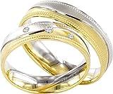 Eheringe Partnerringe Trauringe Verlobungsringe Freundschaftsringe in Gold Plattiert 5mm Breit *mit Gravur und Stein* P122