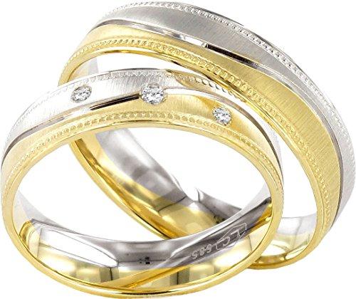 Eheringe Partnerringe Trauringe Verlobungsringe Freundschaftsringe in Gold Plattiert 5mm Breit *mit Gravur und Stein* P122 (Unter 5 Paar $ Ringe)