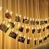 Innenräume Draußen Lichterketten Led Streifen Weihnachts Innenbe Außenbe Lauflichter Lichtschläuche Garten-Fackeln Spezial Stimmungsbeleuchtung Led-Fotoclip Lichterkette 20 Stück 2M 8 Modi (Warmweiß)