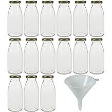 Viva Haushaltswaren - Juego de botellas pequeñas de cristal (15 unidades 250 ml tapón de rosca embudo de 12 cm de diámetro)