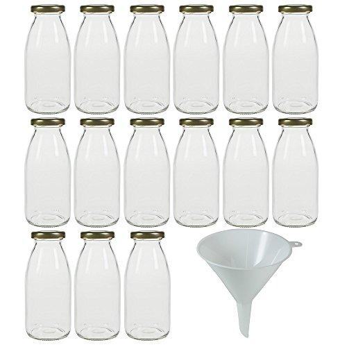 Viva Haushaltswaren - 15 x Glasflasche 250 ml mit goldfarbenem Schraubverschluss, als Milchflasche, Saftflasche & Smoothieflasche verwendbar (inkl. Trichter Ø 12 cm)