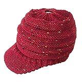 AIni Damen Wintermütze im Freien Gestrickte Hüte Häkeln Multicolor Knit Hip-Hop Cap für Pferdeschwanz Brötchen (Rot)