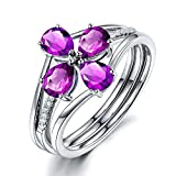 KnSam Ring Sterling Silber 925 Damen Hochzeitsring Set mit Echt Amethyst Jahrestag Geschenk für Frauen Mutter Gr.52 (16.6) Modeschmuck
