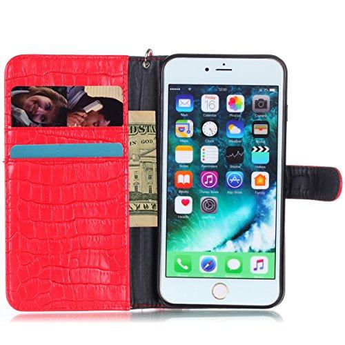 EUWLY Custodia Pelle per iPhone 7s Plus/iPhone 7 Plus 5.5 [Portafoglio] Fashion Texture Coccodrillo Custodia Portafoglio Protettiva Custodia Lusso Wallet Custodia Flip Case Copertura Divertente Ultra  Texture Coccodrillo(Rosso)