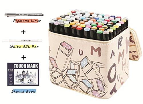 80 Varios Colores Arte Dibujo Rotulador, Doble Punta Doble Marcador Fluorescente con Funda de Transporte para la Animación Dibujo Pintura Garabateando Subrayando de Tinte Blanco (COMPRAR 1 GET 5 - Negro)