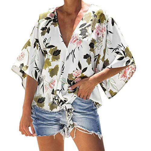 4759bdd801c84b Floral Tie Knot Tops,♔JUSTSELL♔ Women's Button Down Shirts V Neck Shirt Tank