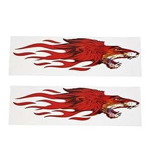 Motif 2Pcs Rouge PVC Plastique Tête de loup Décor autocollant Decal pour la voiture Auto