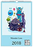 artboxONE Kalender 2018 Monster Love Wandkalender A3 Kindermotive