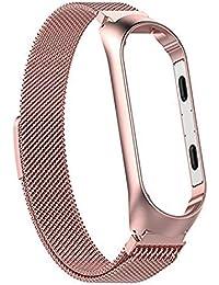 Kentop Correa de reloj de acero inoxidable para Xiaomi mi Band 3, pulsera de acero