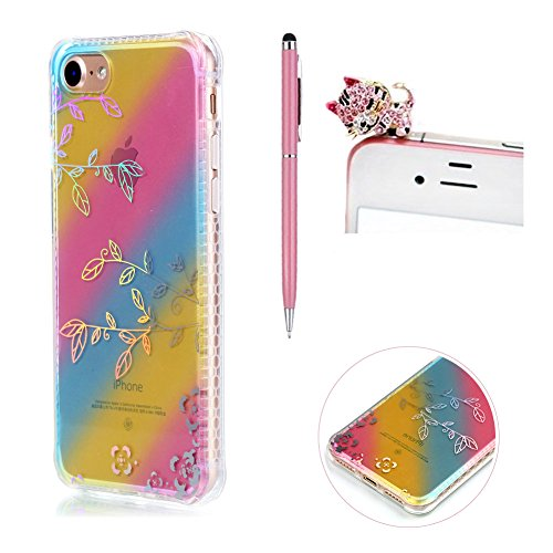 Custodia per iPhone 7 4.7 Pollici,SKYXD Lusso Luminosa Brillante Strass Pteris Rainbow Cover Trasparente Silicone Antiurto Case per Apple iPhone 7 con Brillantini Spina Della Polvere e Carino Stilo Filiali
