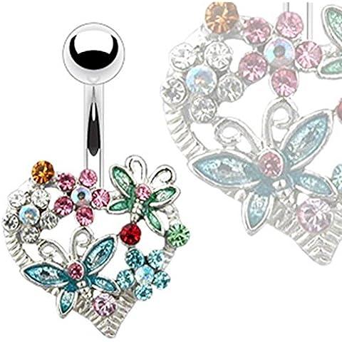 Paula & Fritz piercing per ombelico in acciaio chirurgico in acciaio inox 316L a forma di cuore in fiori e farfalle con zirconi