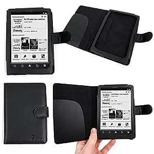 Etui sur mesure pour liseuses Sony SONY PRS-T3 et T3S, 6 pouces écran tactile - aspect cuir noir - garanti 5 ans, par DURAGADGET