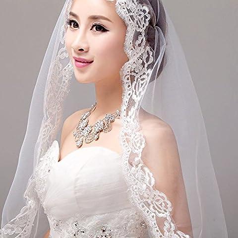 Cabeza larga novia Hilados Accesorios moda de la boda de marfil blanco del cordón los 280CM Longitud