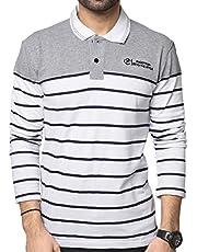 ZEYO Men's Cotton Striped White Polo Tshirt Full Sleeve