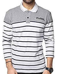 ZEYO Men's Cotton Striped White Polo Tshirt Full Sleeve