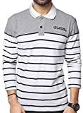 ZEYO Men's Cotton Striped T-Shirt (ZMT-POLO-4002-M, White, Medium-40)