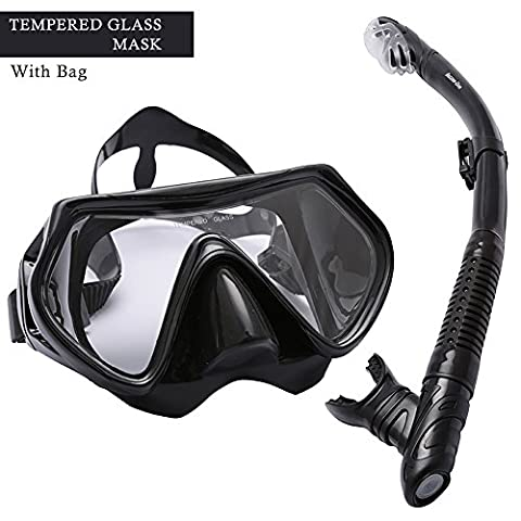 Diving Mask and Dry Snorkel Set by Bezzee-Dive - Watertight Mask with Anti-Fog Tempered Glass Lens - Crystal Clear Vision - Breathe Easy & Comfortable Snorkel - Comes with a Premium Quality Carry Bag