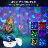 Projektor Lampe, AsperX Nachtlicht Kind Nachttischlampe Ozean Projektor & Sterne Nachtlicht 360° Grad Rotation mit 8 Farben Neuer Typ Sternenhimmel Projektor zum Schlafen Entspannen (White-A) - 2
