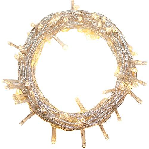 CATENA LUCI A LED LUMINOSO NATALIZIA 600 LEDs 62M LUCE LUCCIOLE CON CONTROLLER 8 FUNZIONI IDEALE PER NATALE COMPLEANNI FESTE (BIANCO CALDO)