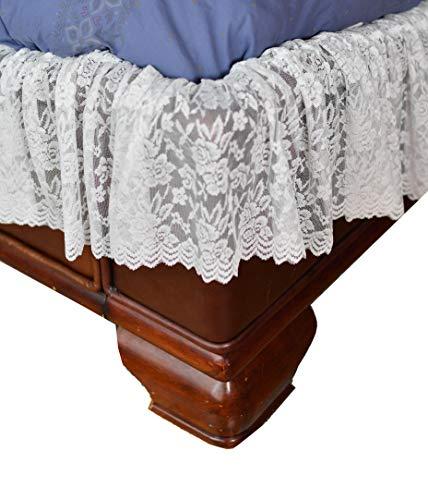 Home-X - weiße Spitze, gewellt, elastisch, einfach anzubringen, Staub-Rüschen-Rock für Queen/King-Size-Bett -